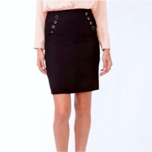 • NWOT • F21 Black Lacquered Button Pencil Skirt